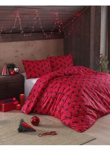 EnLora Home Enlora %100 Doğal Pamuk Nevresim Seti Tek Kişilik Geyik Kırmızı